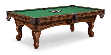 8' pool table shown in Chardonnay finish and optional Dallas Stars table cloth