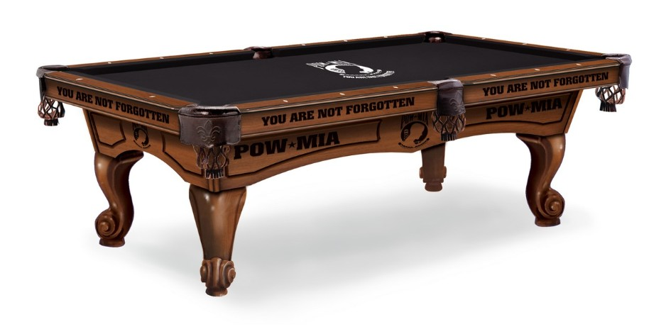 8' maple pool table with engaving