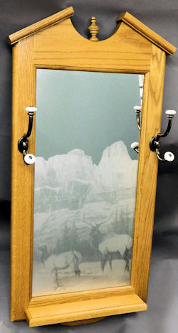oak etched mirror